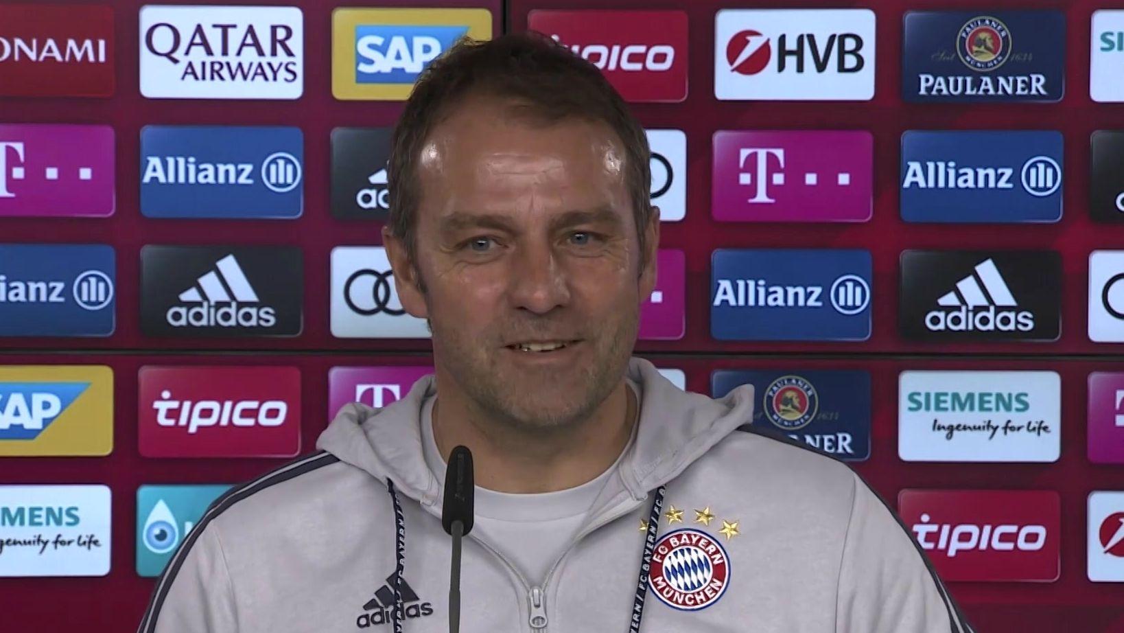 Bayern-Trainer Hansi-Flick in der Pressekonferenz