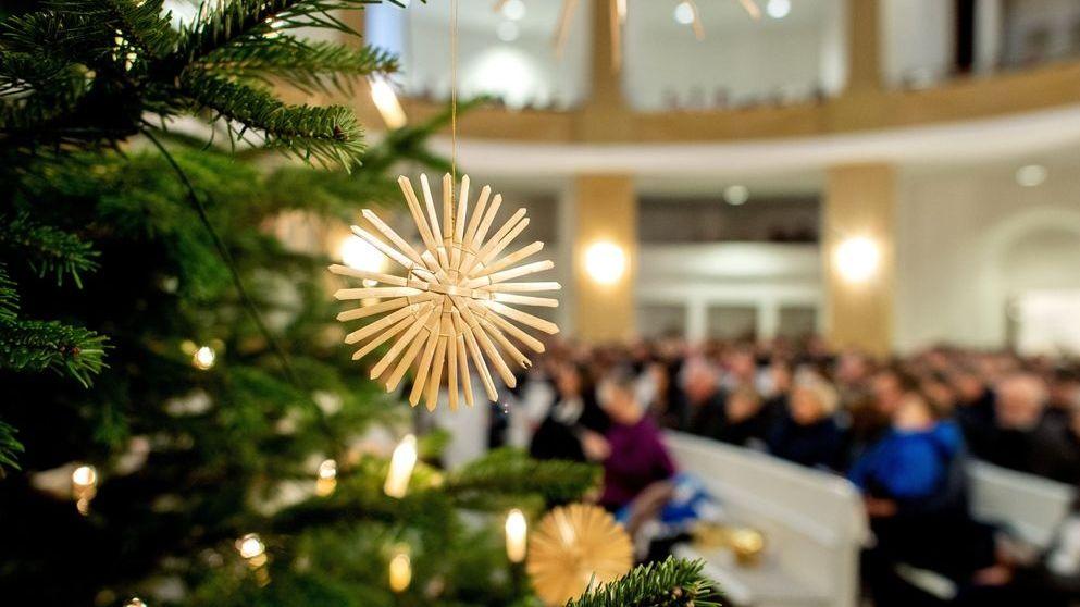 Weihnachtsgottesdienst: Blick vom Baum im Altarraum in die gefüllten Kirchenbänke.
