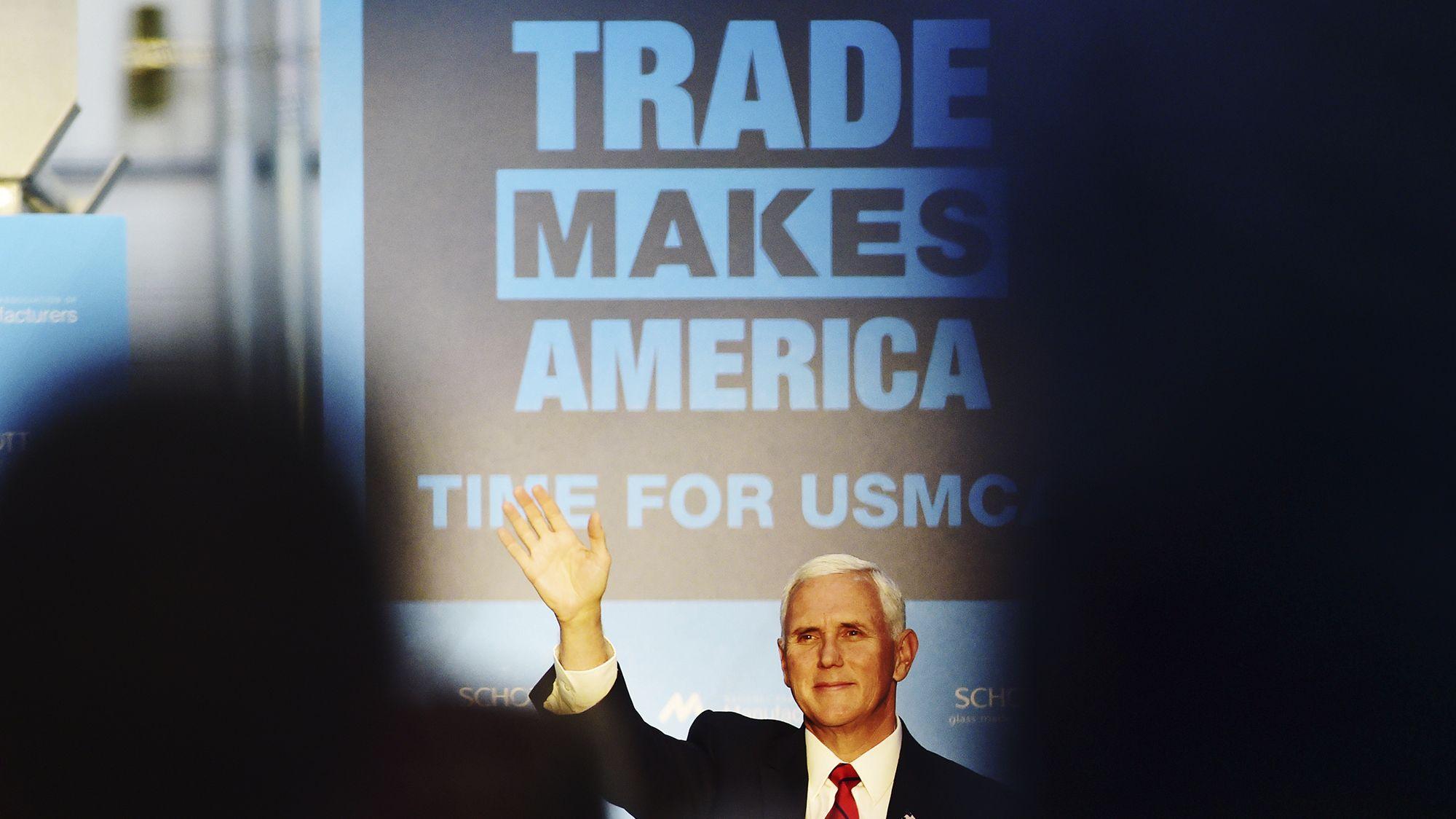 Vizepräsident Mike Pence wirbt bei einer Veranstaltung für das Freihandelsabkommen USMCA.