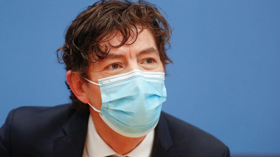 Virologe Christian Drosten bei einer Pressekonferenz am 22.01.2021