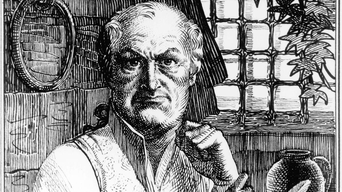 Der Schriftsteller auf einer historischen Zeichnung