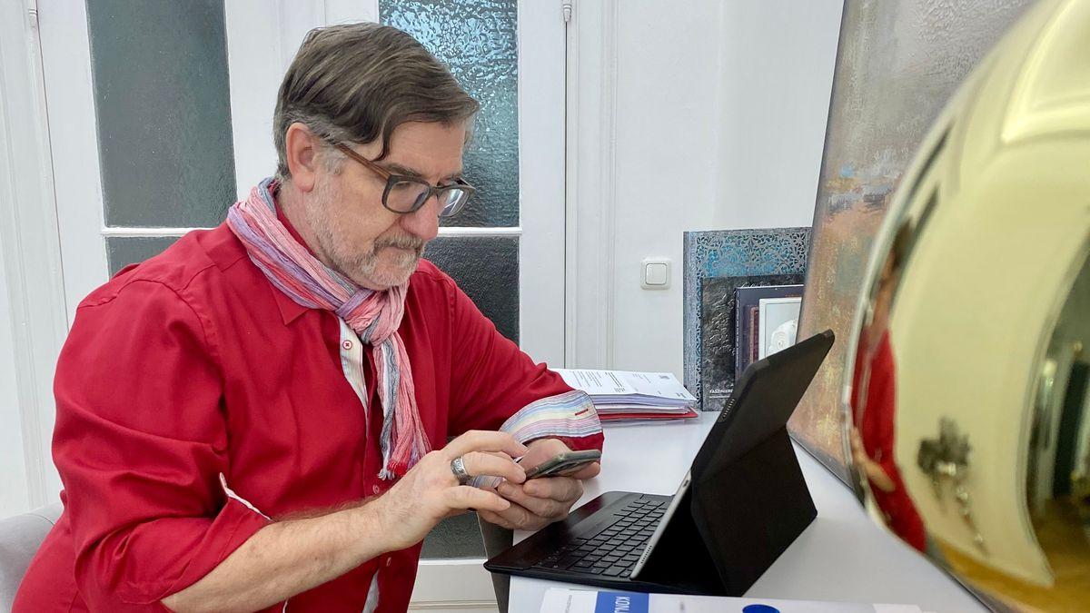Klausurtagung digital: Der SPD-Landtagsabgeordnete Michael Busch im Homeoffice.