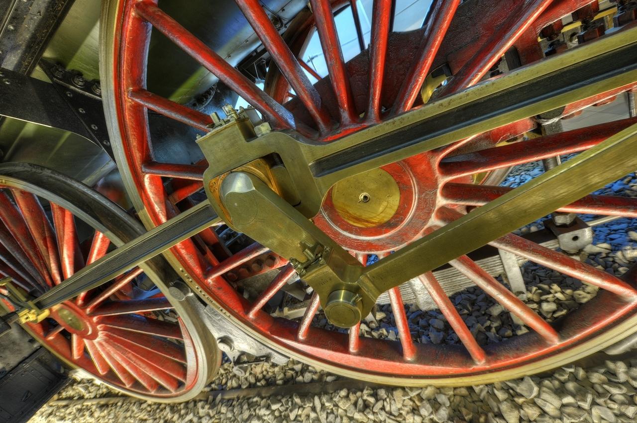 """Detail der Geschichte der Eisenbahn: Rad des """"Adler"""""""