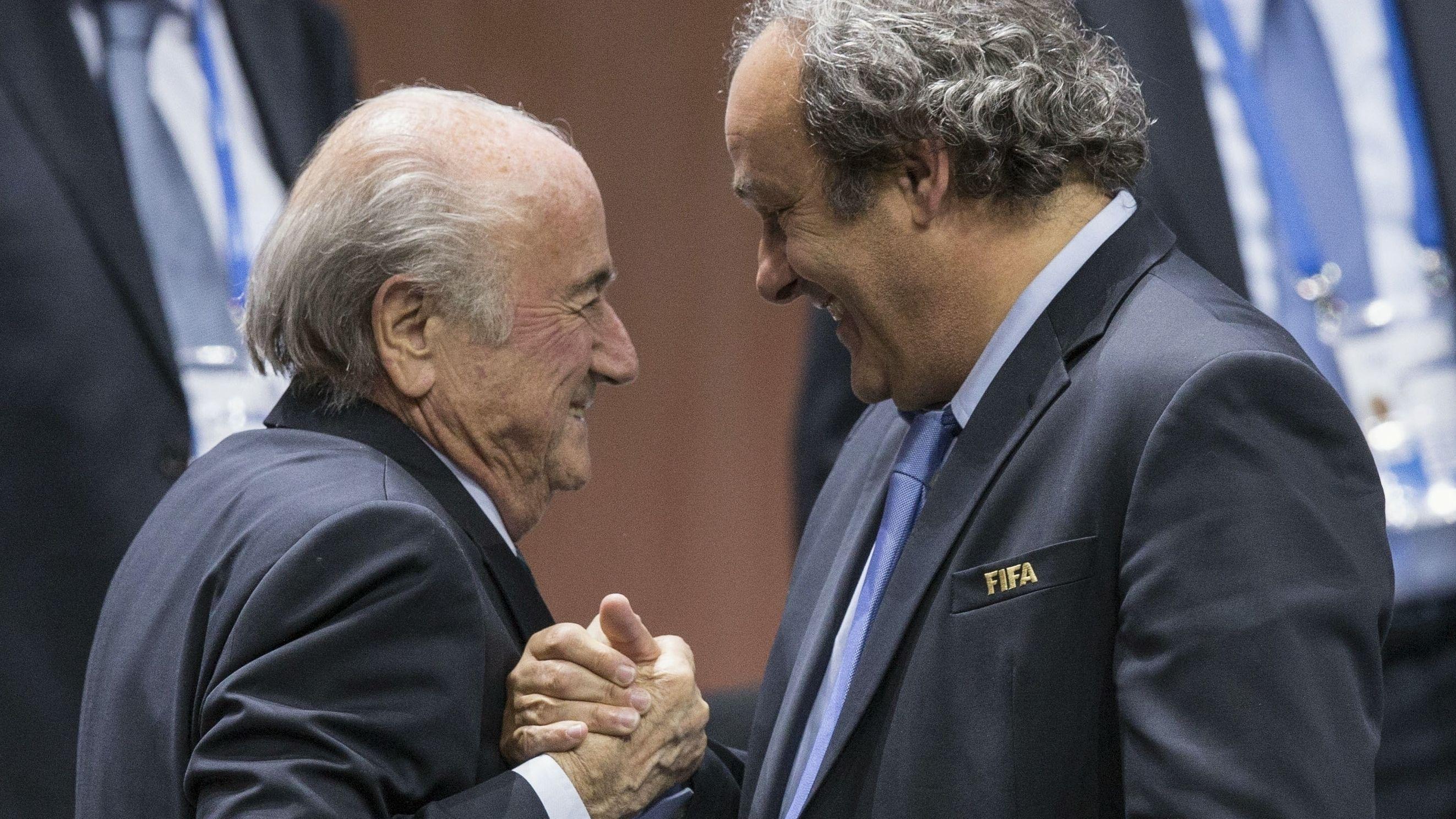 Sepp Blatter und Michel Platini 2015 beim FIFA Kongress 2015