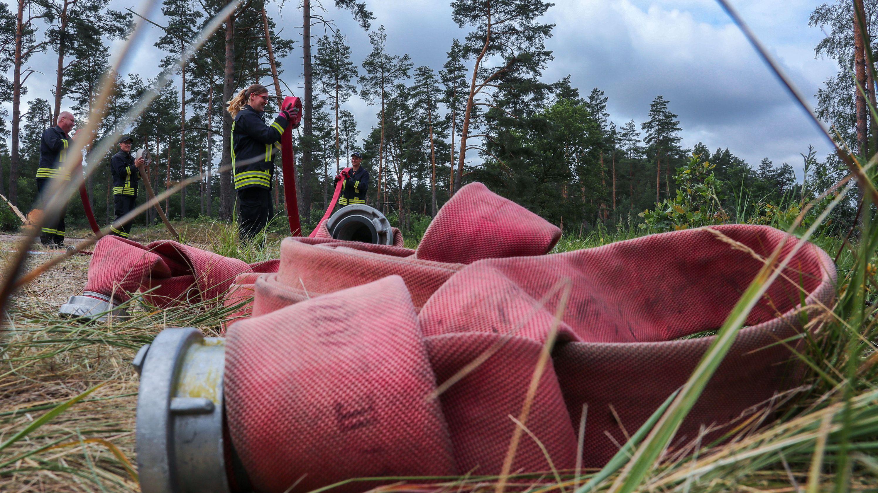 Mehrere Feuerwehrschläuche liegen auf dem Waldboden - im Hintergrund Feuerwehrleute bei der Löschübung
