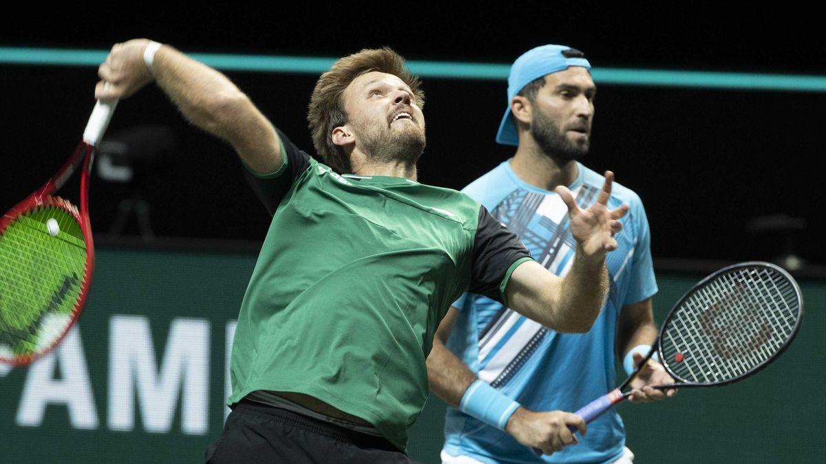 Kevin Krawietz (links) und sein Doppel-Partner Horia Tecau aus Rumänien.
