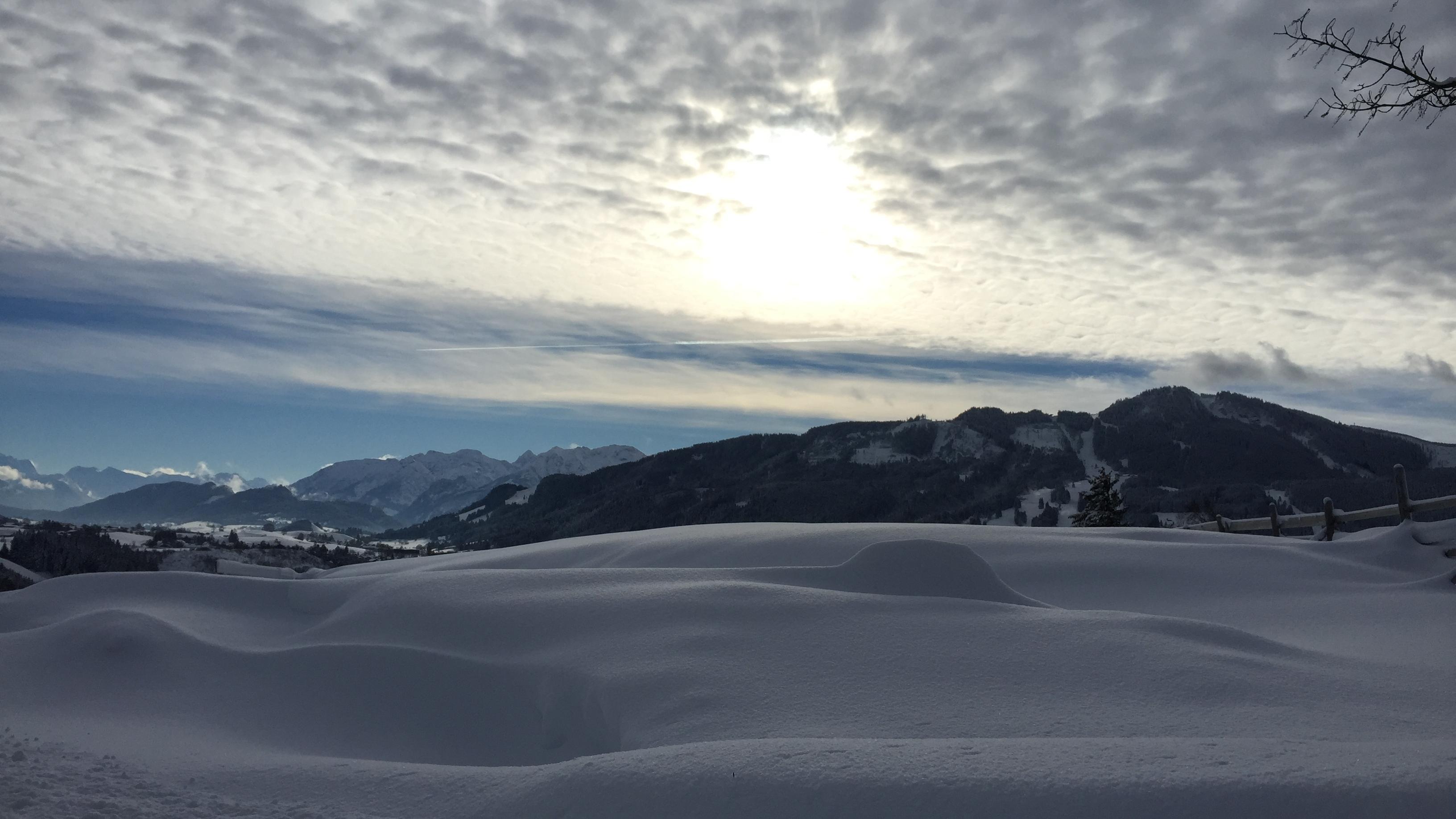 Bei Haslach: Blick in Richtung Südost Reuter Wanne und im Hintergrund östliche Allgäuer Berge