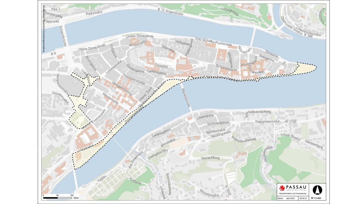 Karte der Passauer Innenstadt