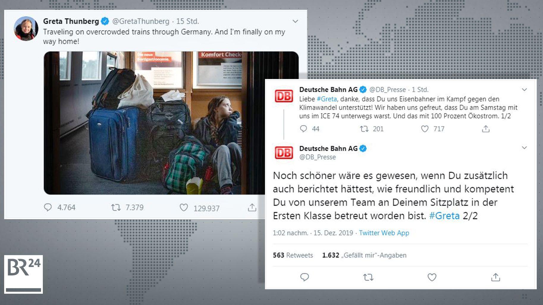 Posts von Greta Thunberg und der Deutschen Bahn beim Nachrichtendienst Twitter