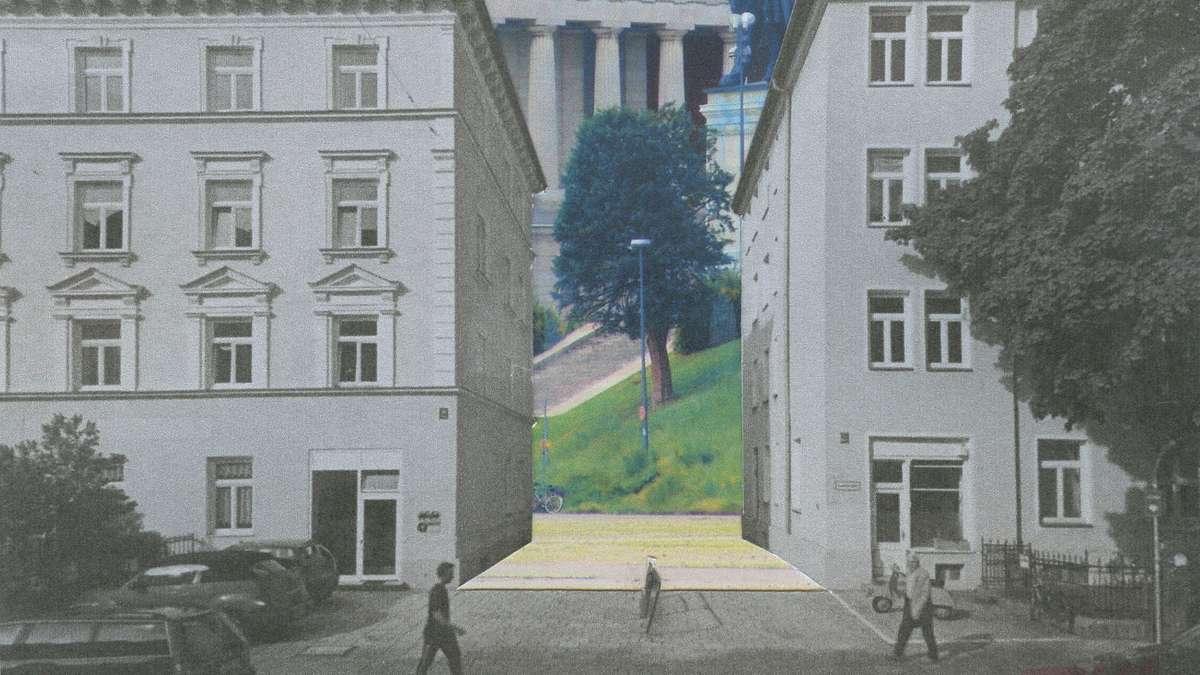 So sähe die Häuserfront bei einer Bebauung wie in Schwabing am Fuße der Bavaria aus.