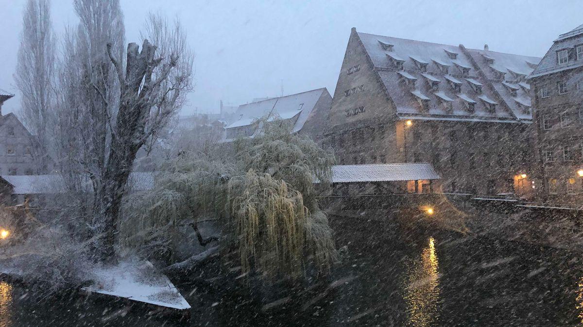 Schneegestöber in Nürnberg am 6. April