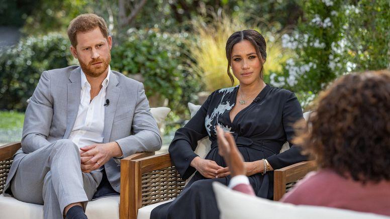 Prinz Harry von Großbritannien und seine Ehefrau Herzogin Meghan im Interview mit US-Moderatorin Oprah Winfrey (16.2.21) | Bild:dpa-Bildfunk/com.cm4ap.tpl.util.TplContext@4132a4d9