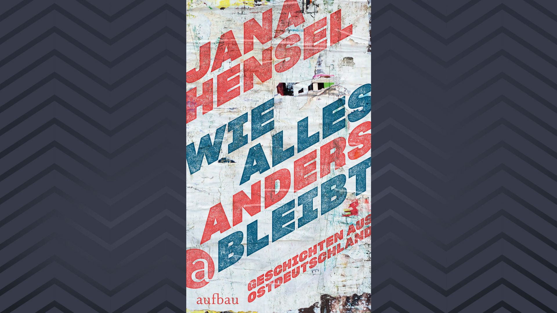 """Buchcover """"Wie alles anders bleibt"""" von Jana Hensel (schräge Schrift auf dem Hintergrund rissiger Plakate)"""