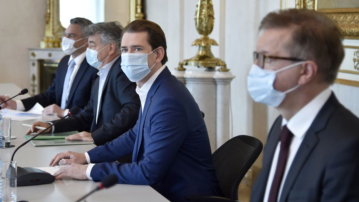 Wien am 31. Oktober: Politiker Nehammer, Kogler, Kurz und Anschober.