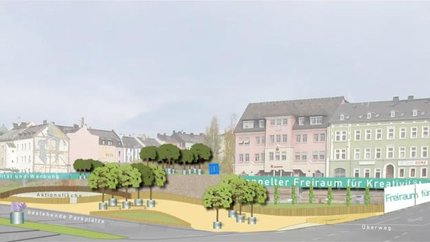 """Eine Grafik zeigt, wie das """"Strauß-Areal"""" in Hof künftig aussehen soll."""