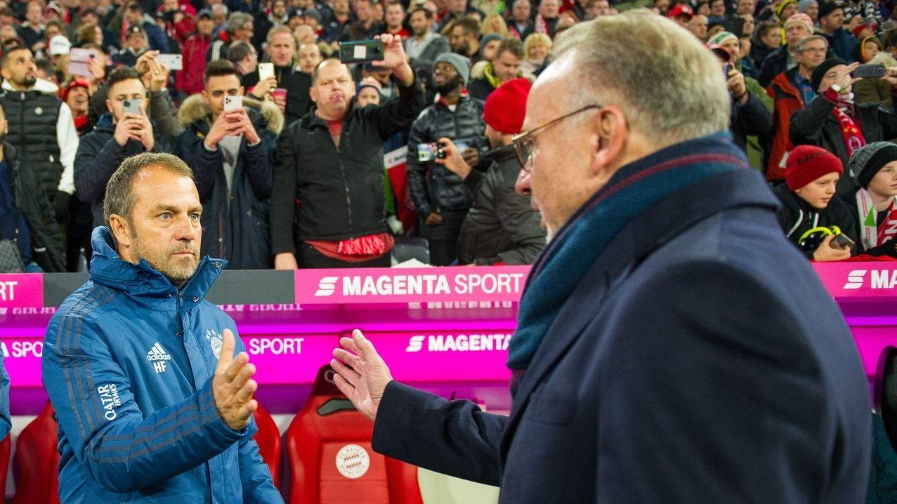 Bayern Münchens Vorstandschef Karl-Heinz Rummenigge und Trainer Hansi Flick