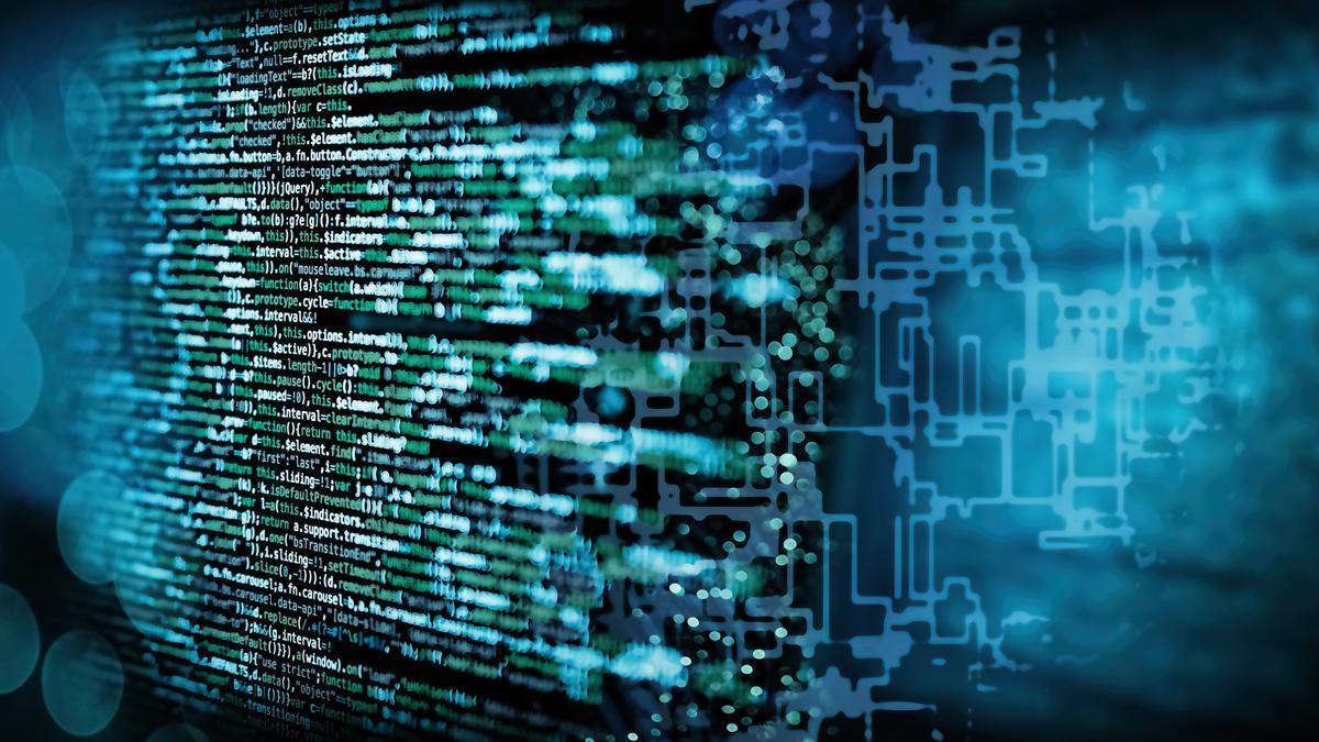 Programmiercode mit abstraktem technischen Hintergrund in blau
