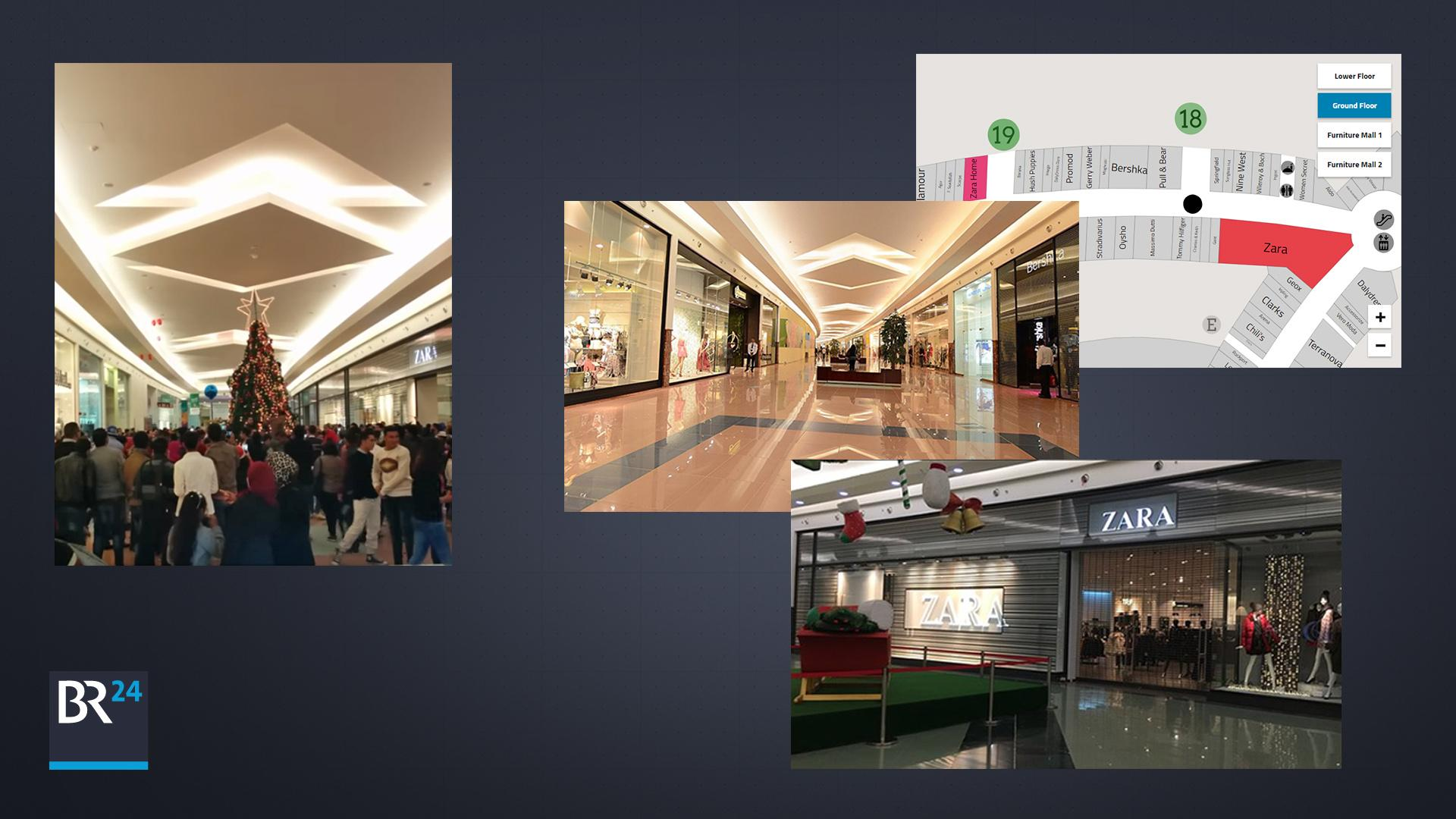 """Links ein Ausschnitt aus dem Originalvideo, rechts der Abgleich mit Aufnahmen von Google-Nutzern und der Karte der Läden in der """"Mall of Arabia""""."""