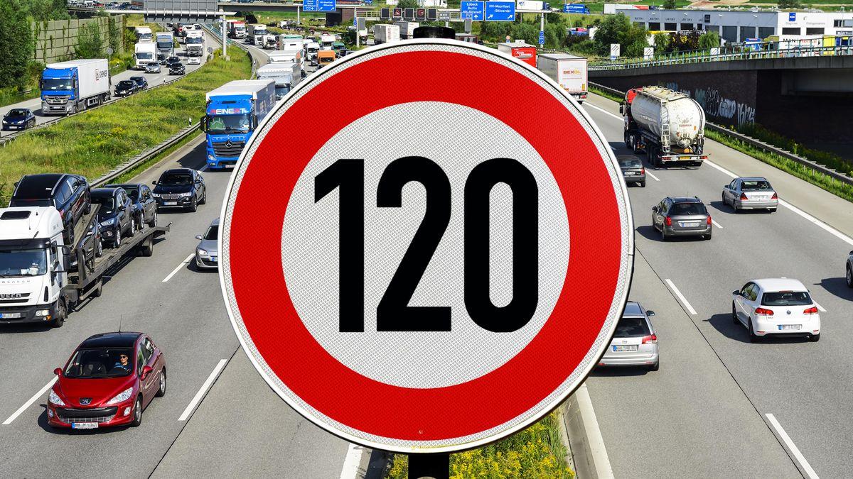 Autobahn und Schild mit Tempolimit 120 km/h (Symbol).