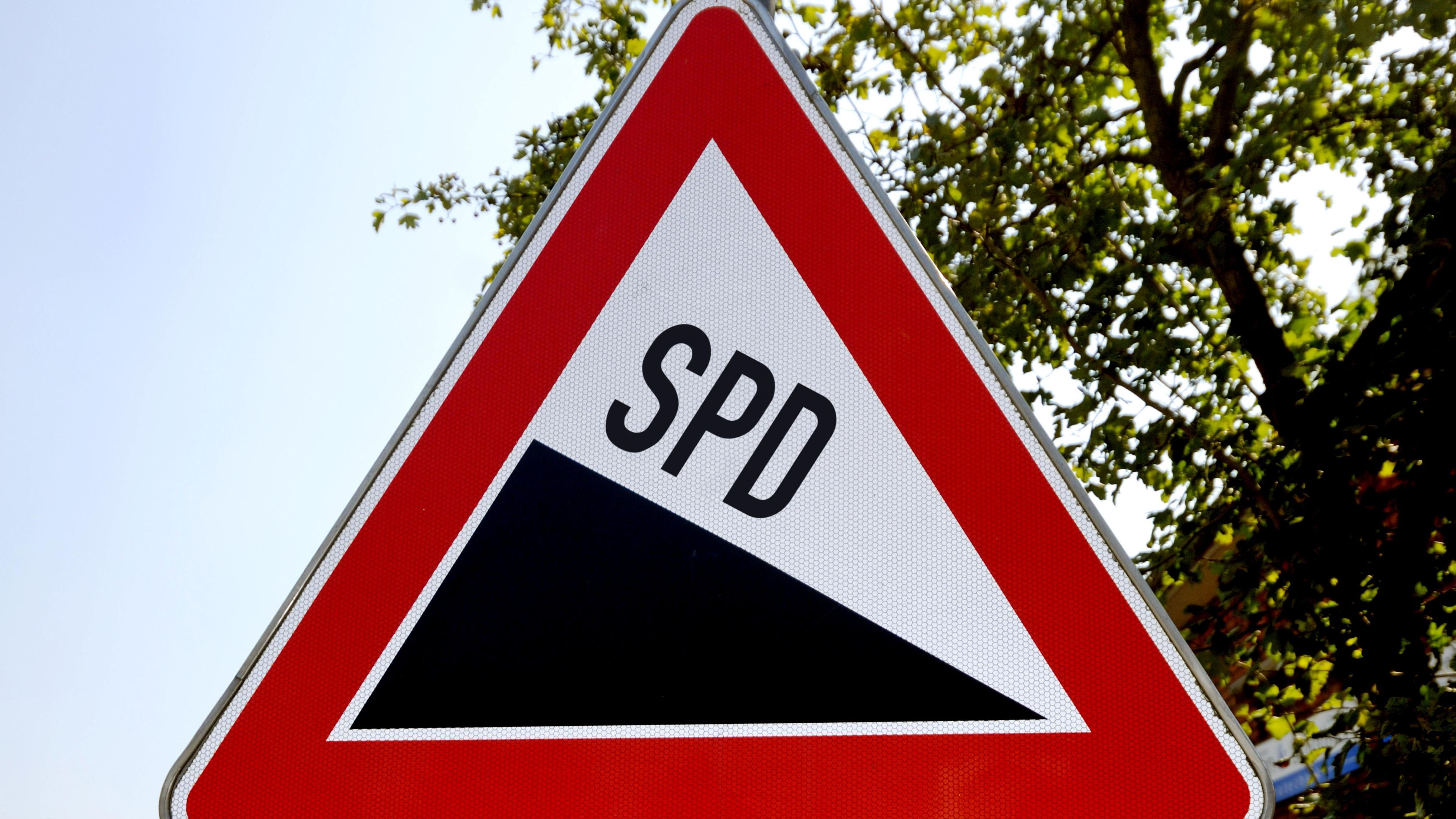 Verkehrsschild mit SPD-Motiv