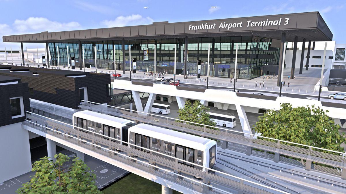 Die Visualsierung zeigt das künftige Terminal 3 des Frankfurter Flughafens.