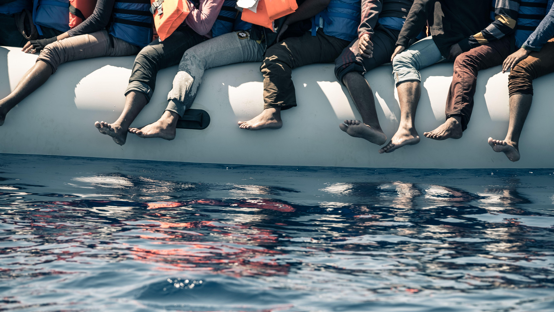 Bootsflüchtlinge nach ihrer Rettung im Mittelmeer