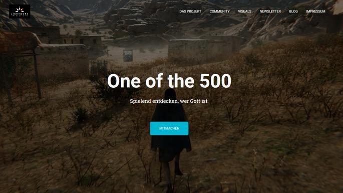 """Screenshot der Website des Bibel-Computerspiels """"One of the 500"""""""