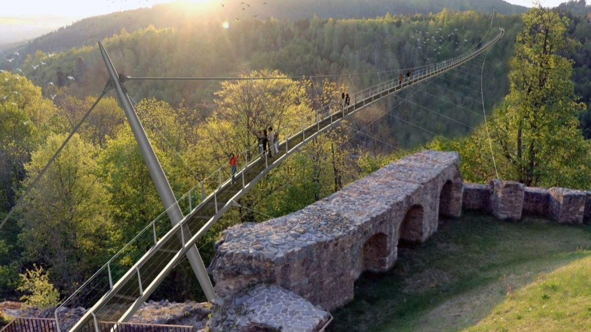 Eine Computergrafik zeigt die Brücke, die sich in luftiger Höhe über das Höllental schwingt, im Hintergrund dichter Wald.