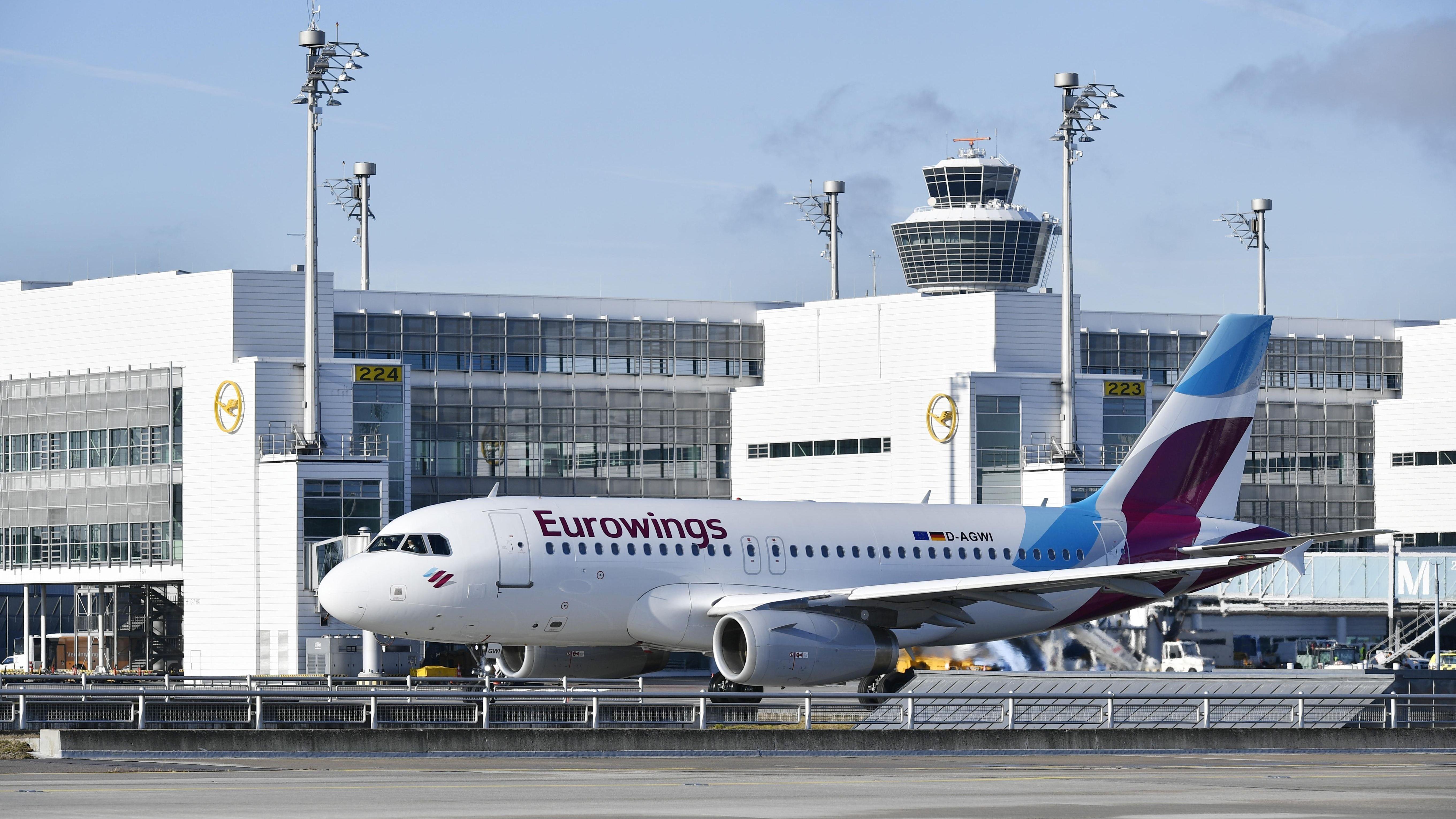 Eine Eurowings-Maschine am Flughafen München