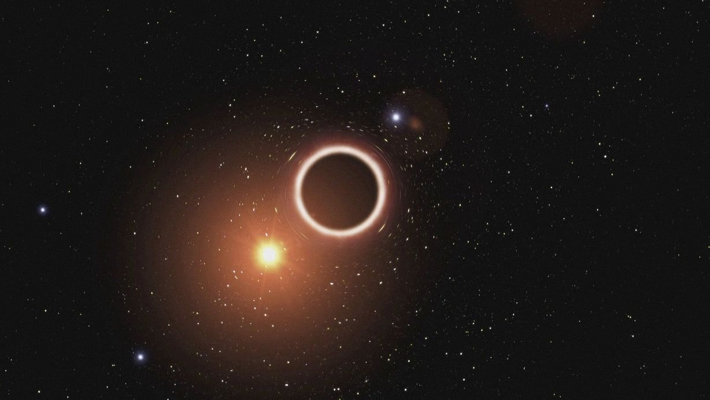 Das Bild zeigt eine künstlerische Darstellung eines Schwarzen Lochs mit einem hellen Stern links unten daneben.