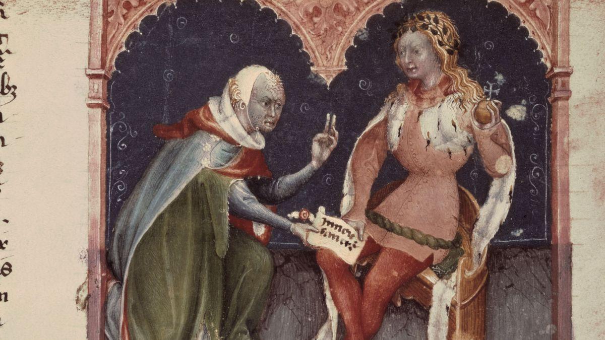 Darstellung Friedrichs II., wie er der Stadt Asti ein Privileg gewährt, Buchmalerei, um 1300. Aus dem Codex Astinensis. Asti, Archivio Municipale.