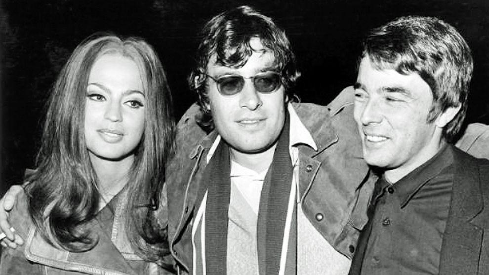Schwarz-Weiß-Foto von 1967: Klaus Lemke, Prinzessin Ira von Fürstenberg und der französische Schauspieler Gerard Blain