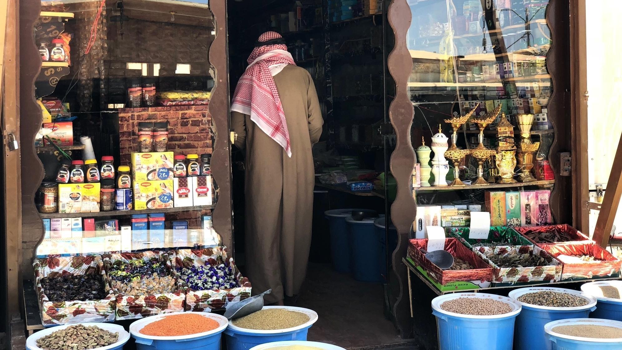Lebensmittel im Supermarkt können im Flüchtlingslager Zaatari per Augens-Scan bezahlt werden