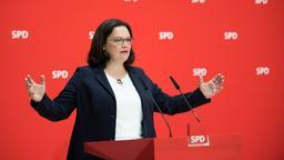 SPD-Politikerin Andrea Nahles hält eine Rede.  | Bild:dpa-Bildfunk/Bernd von Jutrczenka