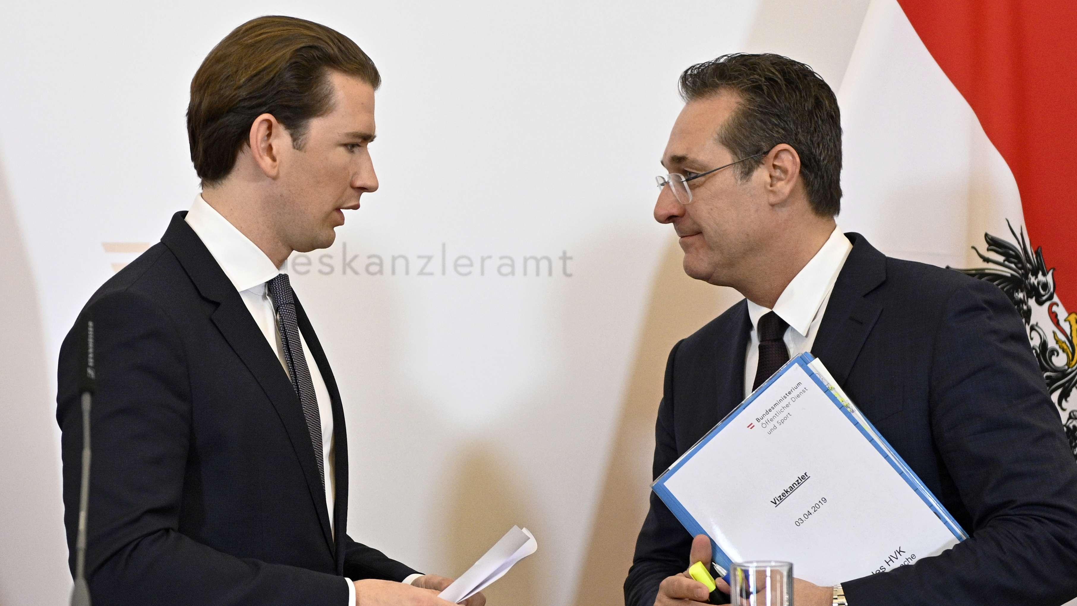 Bundeskanzler Sebastian Kurz (ÖVP), Vizekanzler Heinz Christian Strache (FPÖ) anl. einer Sitzung des Ministerrates im Bundeskanzleramt am Mittwoch, 03. April 2019 in Wien.