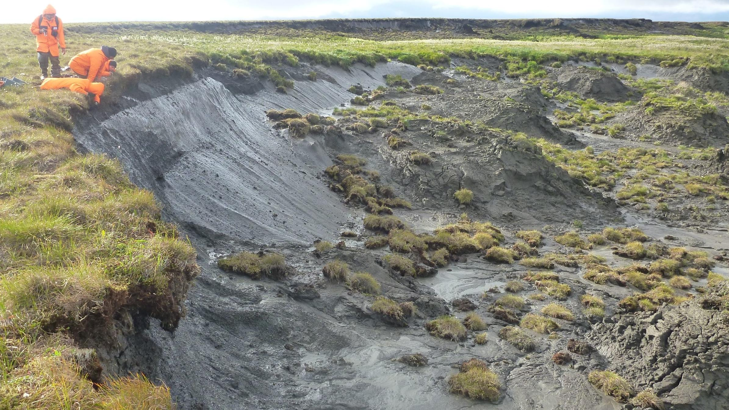 In der internationalen Studie wollen mehr als 50 Forschergruppen aus 26 Ländern herausfinden, wie schnell sich die Permafrostböden erwärmen. Hier untersuchen AWI-Forscher die erodierende Permafrost-Küste auf der sibirischen Bykovsky-Halbinsel.
