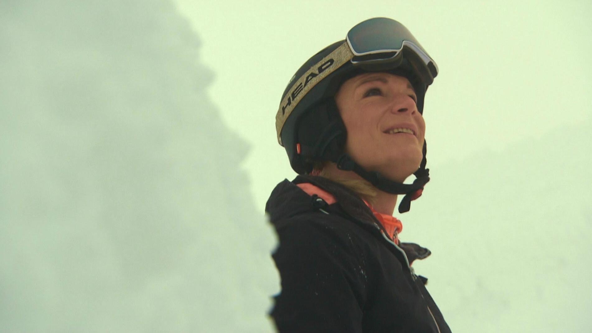 Maria Höfl-Riesch beim Pistencheck