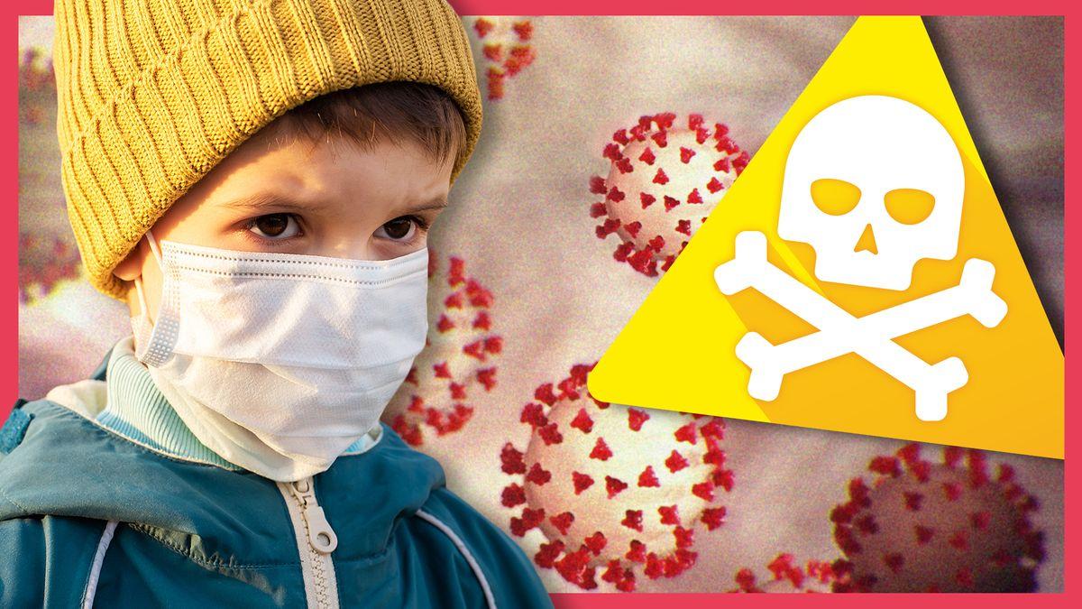 Ein Junge mit Mütze, Jacke und Mund-Nase-Schutz, rechts daneben ein Totenkopfsymbol, im Hintergrund grafische Darstellungen von Corona-Viren.
