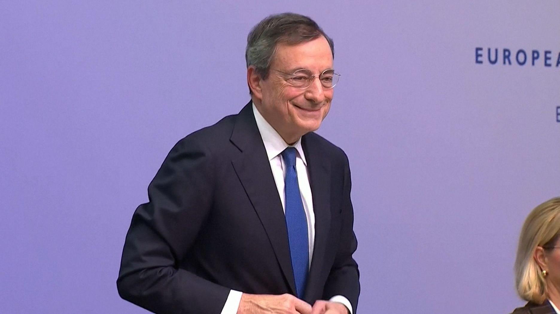 Draghi bei seiner letzten EZB-Sitzung