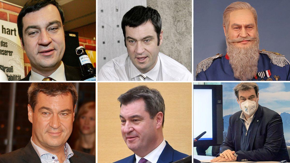 Söder (v. links oben im Uhrzeigersinn): Als Generalsekretär 2005 und 2006, in Veitshöchheim 2018, im ZDF 2014, als Ministerpräsident 2018 und 2021.