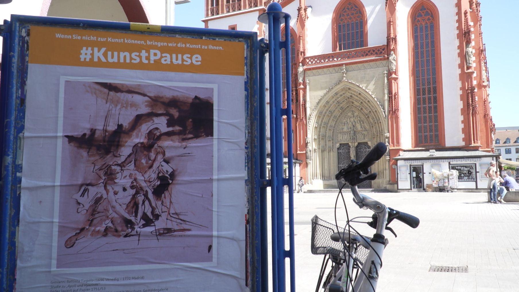 Plakat zeigt ein Gemälde aus einem der Würzburger Museen