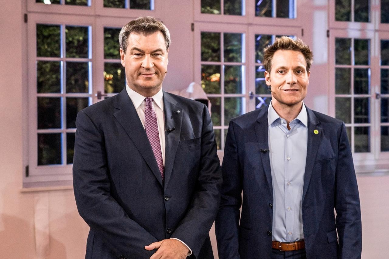 Wahl 2018 - Das TV-Duell | 26.09.2018 : Ministerpräsident Markus Söder trifft auf Ludwig Hartmann