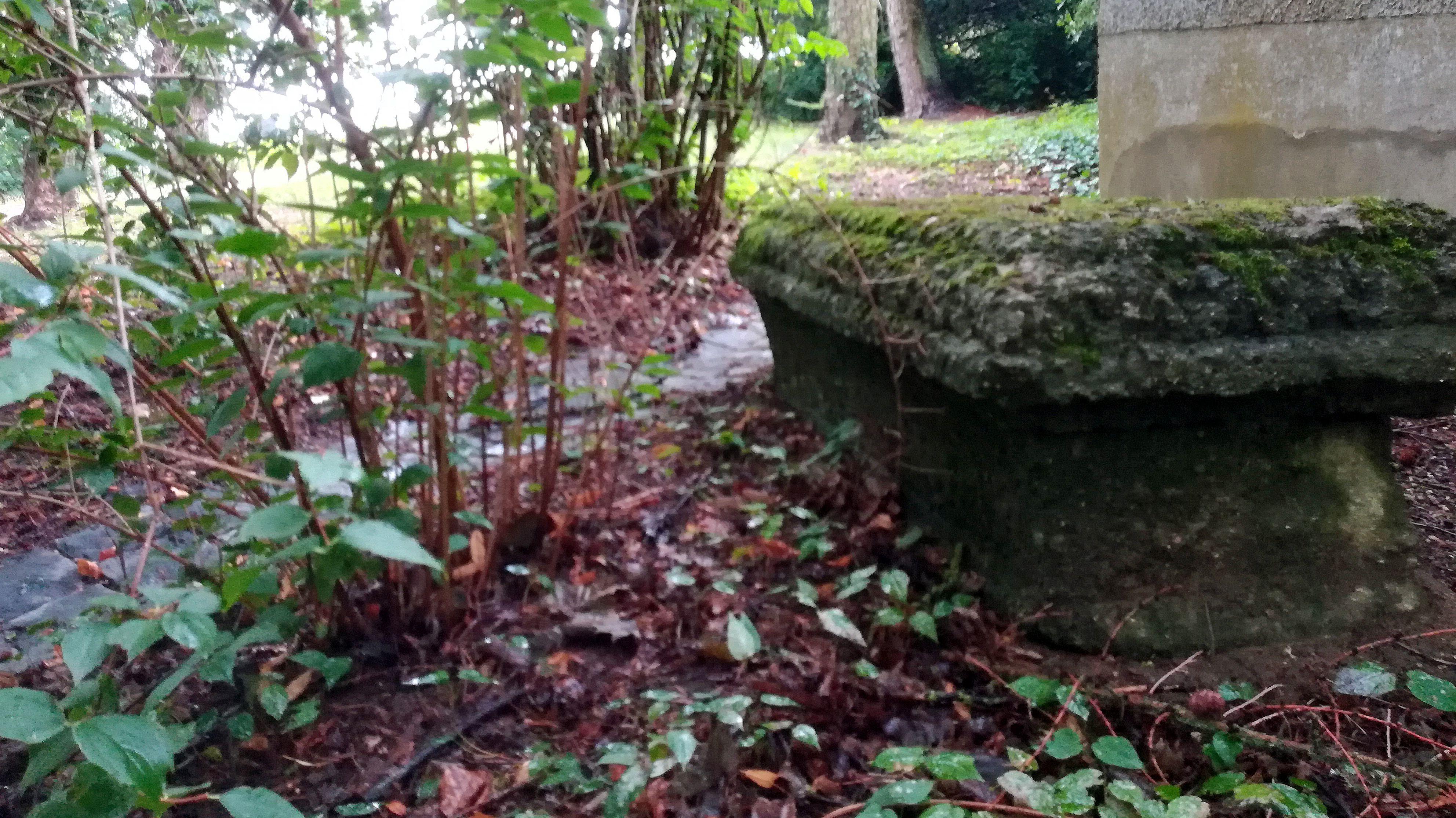 Auf dem Dreifalitigkeitsberg wurden 1809 die gefallenen, österreichischen Soldaten bestattet. Dieser Stein markiert die Grablege.