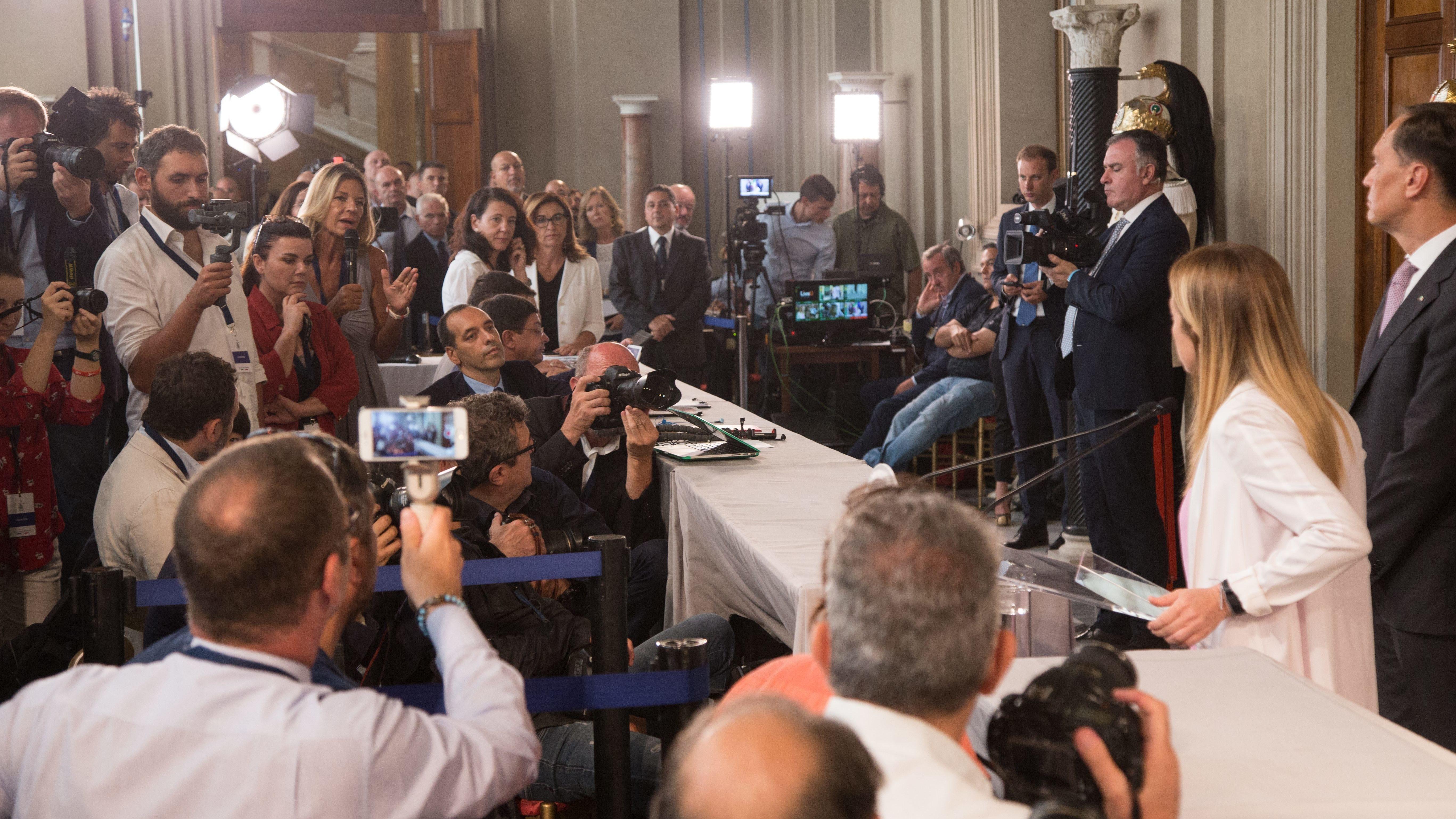 Pressekonferenz zur neuen Regierung in Italien.