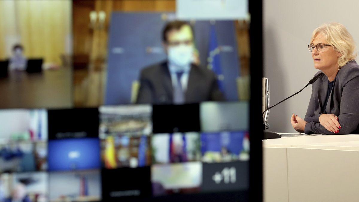 Bundesjustizministerin Christine Lambrecht bei einer Videokonferenz der EU-Justizminister am 9. Oktober