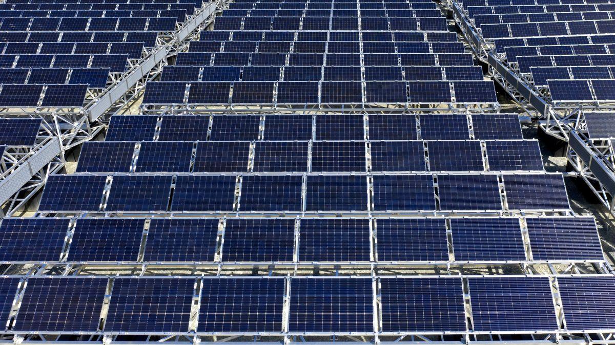 Sonnenkollektoren auf einem Solarpark