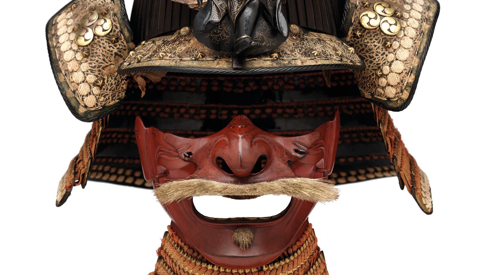 Grathelm (Sujibachi Kabuto) und Halbmaske (Menpo)