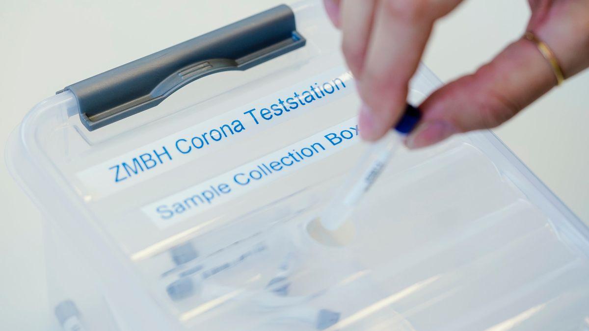 Teströhrchen wird in eine Sammelbox gegeben