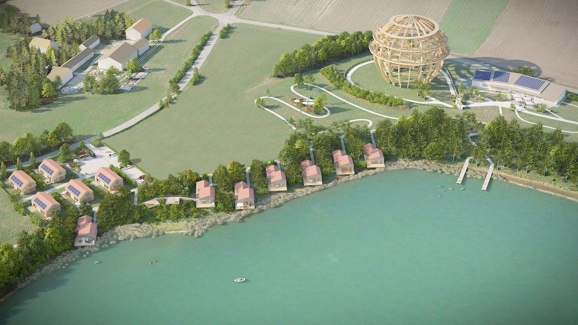 Visualisierung des neuen Feriendorfs am Steinberger See
