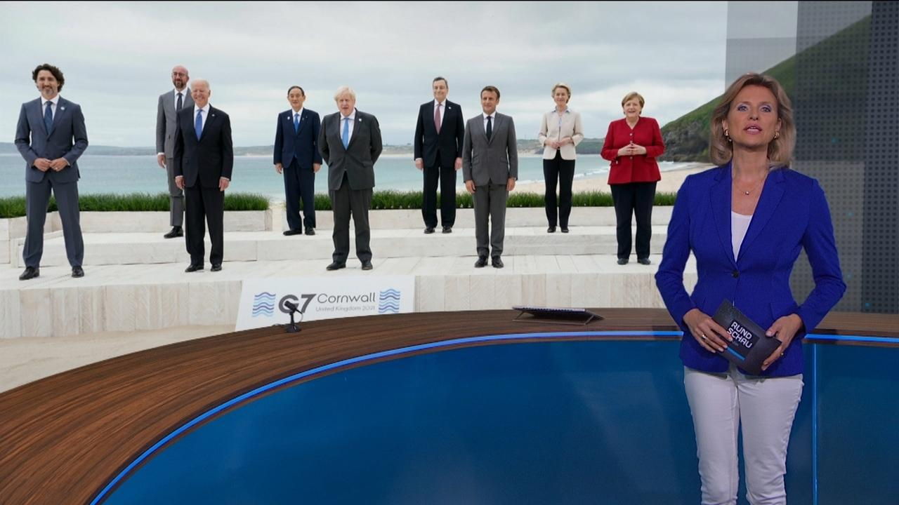 Anuschka Horn vor Bild der G7- Staats- und Regierungschefs